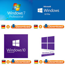 Microsoft Windows 7/8.1/10 Professional 32/64bit - Original Key + ISO - Download