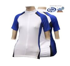 ff83fb066 Size 16   18 Ladies Womens Short Sleeved White   Blue Cycle Jersey Shirt Top