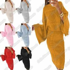 Ladies Chunky Cable Knitted Batwing Baggy Top Midi Skirt Co-Ord Warm 2 Pcs Suit