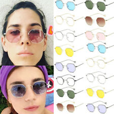 Retro Hexagon Square Sunglasses Metal Frame Glasses Outdoor Sport for Women Men