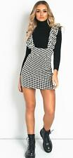 Womens Ladies Dog Tooth Print Pinafore Strap Frill Party Mini Dress 6-16