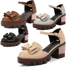 7ba632edebc Womens Cut Out Cleated Sole Platform High Block Heel Ankle Strap Sandals  Shoes