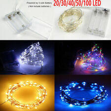 50/20/100 LED 2M 5M 10M Copper Wire Battery String Lights Fairy Lights DIY Xmas