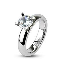 Stainless Steel Ring Silver Engagement Ring with Single Big Zirconia