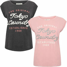 New Womens Tokyo Laundry Cariana Scoop Neck Cotton Rich T-Shirt Size 10/S-16/XL