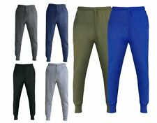 bcca04844 New Mens Slim Fit Jogging Bottoms Fleece Sweats Pants Rib Patch Gym Trousers
