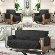 Quilted Black Sofa Arm Chair Protector Slip Cover Furniture Throws Settee Pet