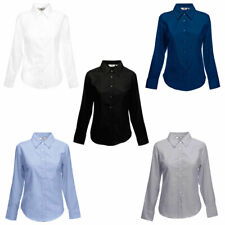 Womens Fruit Of The Loom Button Down Fit Oxford Long Sleeve Polo Shirts XS-3XL