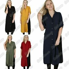 New Ladies Plain Crepe Front Button Side Split Long Line Shirt Madi Dress Top