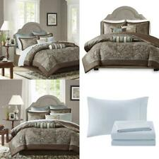 Aubrey Queen Size Bed Comforter Set Bed In A Bag Blue Brown Paisley Jacquard 1