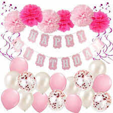 Happy Birthday Bunting Banner Balloons Pom Poms Set Birthday Party Decorations
