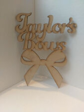 Bow Personalised Wall Door Plaque Sign Laser Cut MDF Ready to Decorate Jo Jo