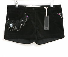 WOMANS BLACK STRETCH VELVET SHORTS WITH DIAMANTE CHAIN & BROOCH SIZE 12 14 16