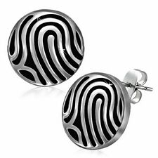 Stainless Steel White Black Silver-Tone Round Classic Womens Girls Stud Earrings