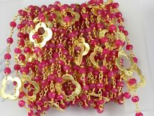 Red Aventurine Faceted Clover Charm Beaded Chain 24k Gold Plated 3.5-4mm Rosary