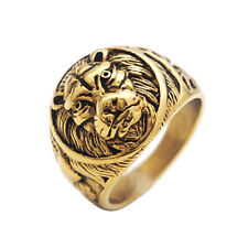 Stainless Steel Lion Ring Vintage Gold Lion Ring Domineering Rock Size 7-13