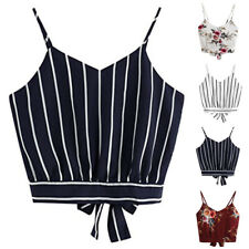 d240663686 Women Floral Casual Crop Top Cami Midriff Shirt Camisole Tops Sleeveless  Vest