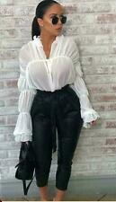 Ladies Sheer Pussy Bow Tie Up Blouse Women Chiffon Ruched Bell Sleeve Ruffle Top