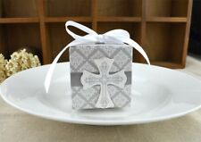 50/100pcs Crucifix Ribbon Paper Cut Candy Cake Boxes Wedding Party Gifts Favor