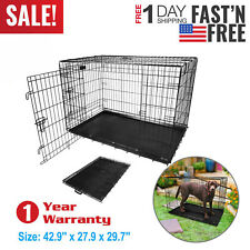 """2 Doors Extra Large Dog Crate Kennel 48""""/42""""/36""""/30""""/24"""" Folding Pet Cage Metal"""