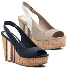 a9e4fc92ab Tommy Hilfiger Women's Shoes Sandals Open Casual Leather Fabric Platform  Wedge