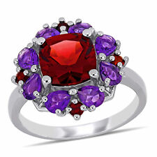 Amour Sterling Silver Cushion & Pear-cut Garnet and Amethyst Floral Cluster Ring