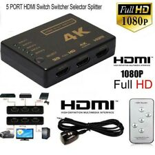 New 5 Port 1080P Auto Switch 3D HDMI Switcher Selector Splitter Hub + iR Remote