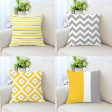 Nordic Geometric Yellow Gray Striped Pillow Case Cushion Cover Throw Home Decor