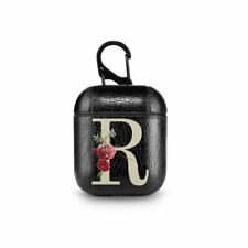 Floral Monogrammed Case For Apple AirPods Leather Protective Bag For Headphones