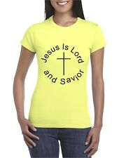Jesus Is Lord And Savior 100% Preshrunk Woman Fitted Crewneck Cotton T-Shirt