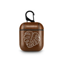 Leaves Leather Apple AirPods Case Leaf Headphones Holder Floral AirPods Pouch