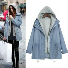 Women Warm Collar Hooded Coat Jacket Denim Trench Parka Outwear