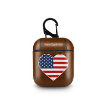 Flag Leather Apple AirPods Case Love USA America Headphones Holder AirPods Pouch