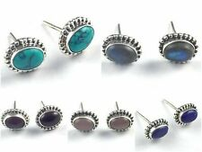 New Fashion Natural Oval 5x7mm Stones 925 Sterling Silver Elegant Stud Earrings