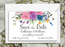 SAVE THE DATE MAGNETS PERSONALISED Bridal Bouquet Wedding Magnets & Enevelopes