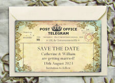 SAVE THE DATE MAGNETS PERSONALISED Vintage Rustic Telegram Magnets & Enevelopes