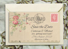 SAVE THE DATE MAGNETS PERSONALISED Vintage Roses Mini Postcard PC4 Wedding