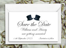 Save the Date Magnets - Personalised Top Hats Gay Wedding Magnets & Envelopes