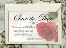 Save the Date Magnets - Personalised Misty Red Rose Wedding Magnets & Envelopes