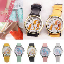 Girl Kids Cute Cartoon Unicorn Christmas leather Wrist band Watch Gift for her
