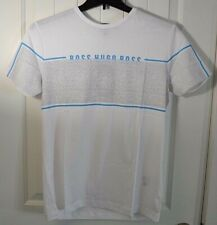 NWT MENS HUGO BOSS GREEN WHITE WITH BLUE SHORT SLEEVE CREW NECK TEE T SHIRT M L