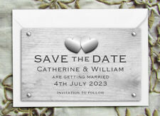 Save the Date Magnets - Personalised Rustic Hearts Design With Envelopes