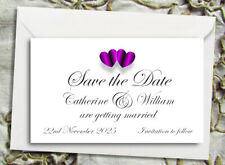Save the Date Magnets - Personalised Purple Hearts Design With Envelopes