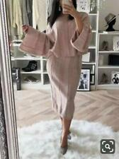 New Womens Ladies Chunky Stripe Knitted Co-Ord Flared Two Piece Skirt Dress Suit