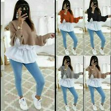 Stylish Ladies Knitted Gathered Flare Peplum Contrast Shirt Jumper Sweater Top