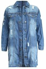 New Women Ladies Long Sleeve Long Button Denim Distressed Jacket