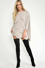 Womens Ladies Oversize Knitted Distressed Waves Curved Hem Jumper Dress Sweaters