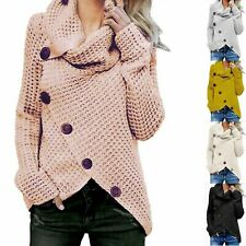 Womens Ladies Chunky Knitted Long Sleeve Roll Neck Buttoned Cardigan Jumper Tops