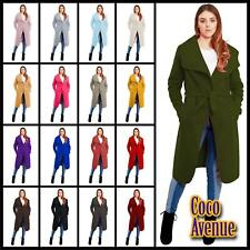 Ladies Italian Drape Belted Long Trench Coat Waterfall Cape Cardigan Warm Jacket