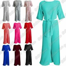 Ladies Ribbed Knitted Tie Waist Top Trouser Pants Co-Ord 2 Pcs Loungewear Suit